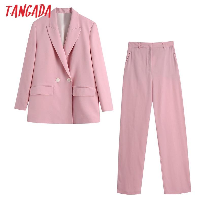 Tangada 2020 المرأة مجموعة الوردي عارضة سترة بدلة 2 قطعة مجموعة الإناث حقق طوق سترة السيدات سترة السراويل مجموعات BE652
