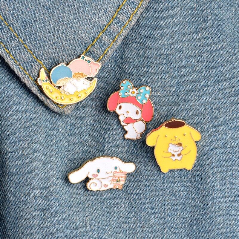 Criativo bonito lua garoto urso coelho esmalte broche para mulher emblema camisa esmalte pino broches para homem metal pino jóias accesorios