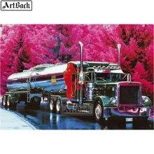 Autocollant camion de peinture diamant 5d   Arbre rouge, carré complet/rond, foret, paysage dautomne, mosaïque diamant, broderie artisanat