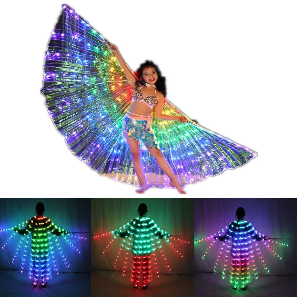 أطفال LED إيزيس أجنحة العصي الرقص الشرقي الجناح المرحلة الأداء بنات متعدد الألوان أجنحة Led فراشة تضيء 360 درجة