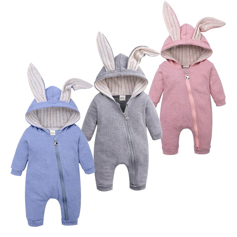 Tops Spring Autumn Newborn Clothes Mother Baby Jumpsuit Big Ear Children Clothes Zipper Cute Style R