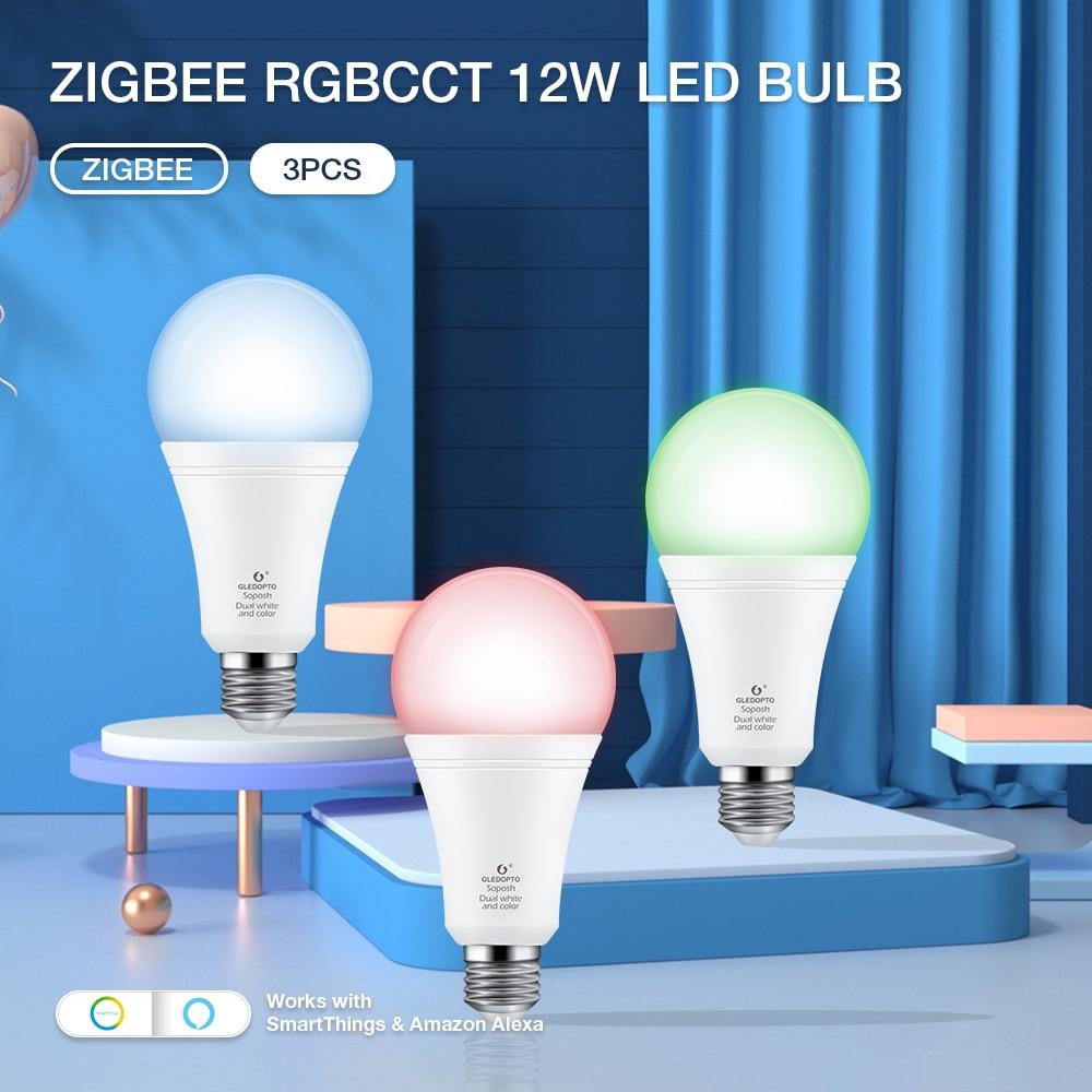 GLEDOPTO LED Bulb 12W ZIGBEE Hub APP/Voice Control RGBCCT Color Bulb Light AC100-240V Dimmable Brightness Home Lighting Decor