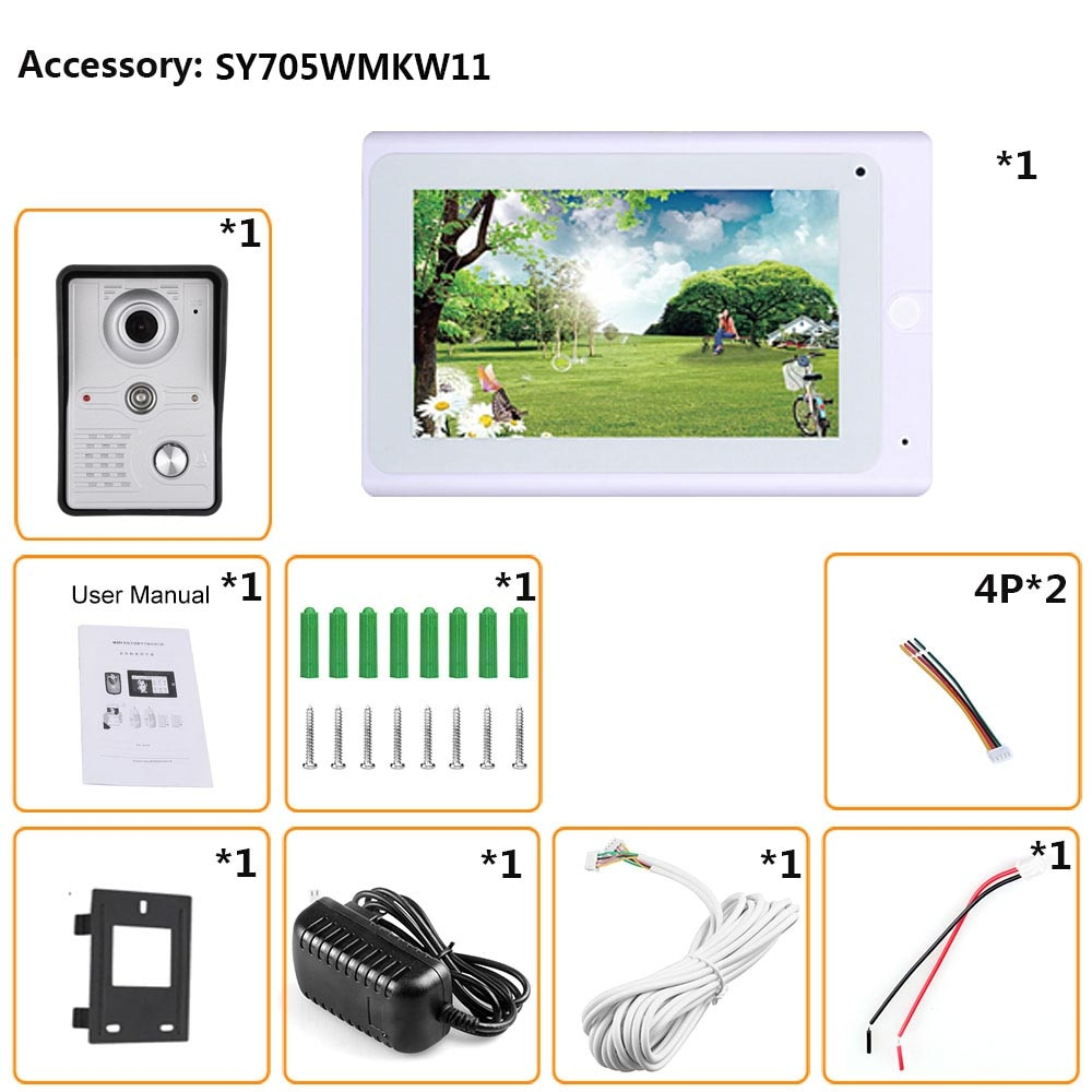 7inch Wireless/Wired Wifi IP Video Door Phone Doorbell Intercom Entry System with IR-CUT HD 1000TVL Wired Camera Night Vision enlarge