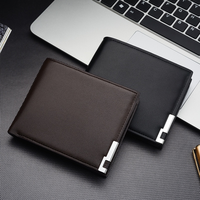 Hot Selling New Men's Short Wallet Iron Edge Korean Youth Men's Horizontal Wallet Trend Card Pack Pu