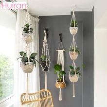 Offres spéciales 100% fait main macramé tenture murale macramé plante cintre fleur/Pot cintre pour décoration murale suspendus planteur suspendus panier