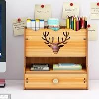 new multi functional desktop stationary diy pen holder box wooden pen organizer easy assembly home office art supplies organizer