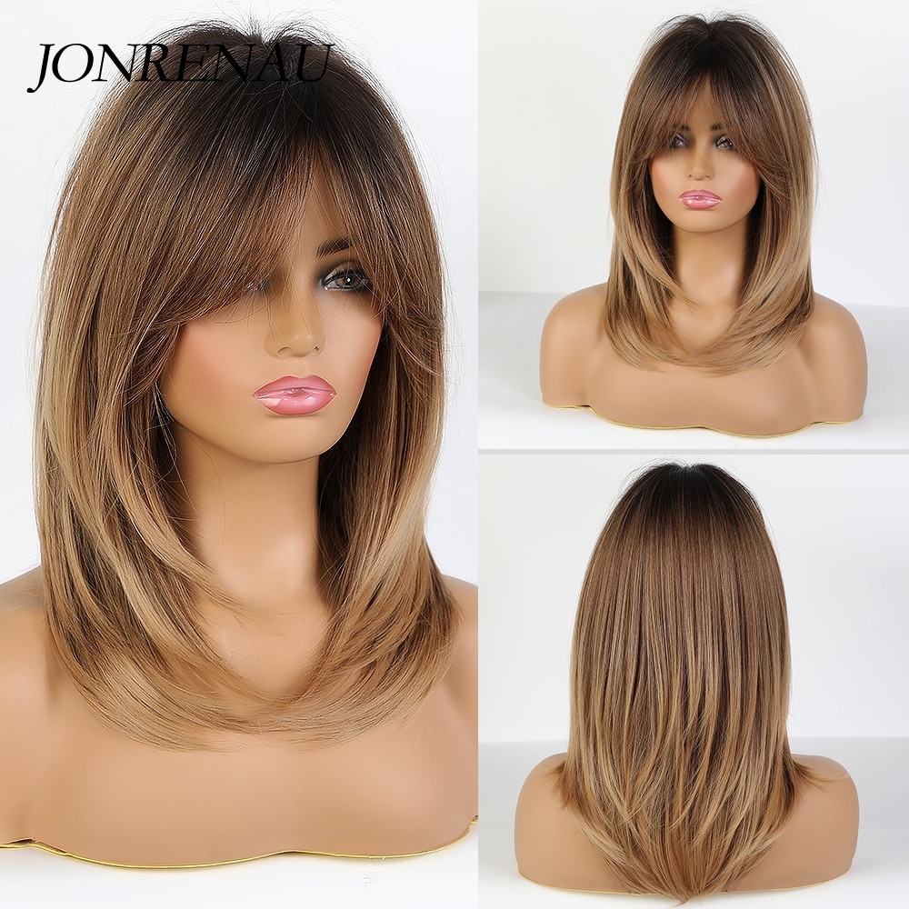 JONRENAU Long Natural Wave Dark bown Ombre Ash brown Hair wigs Synthetic Party Daily Use Wig for Whi