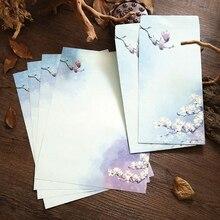 6 unids/set lindo sobre de papel de juego de papel de carta chino pintura de loto con tinta flores para manualidades sobre invitación papelería de Kawaii