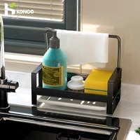 kitchen organizer sink rack space aluminum sponge holder towel rack soap brush holder with drain pan kitchen drying rack