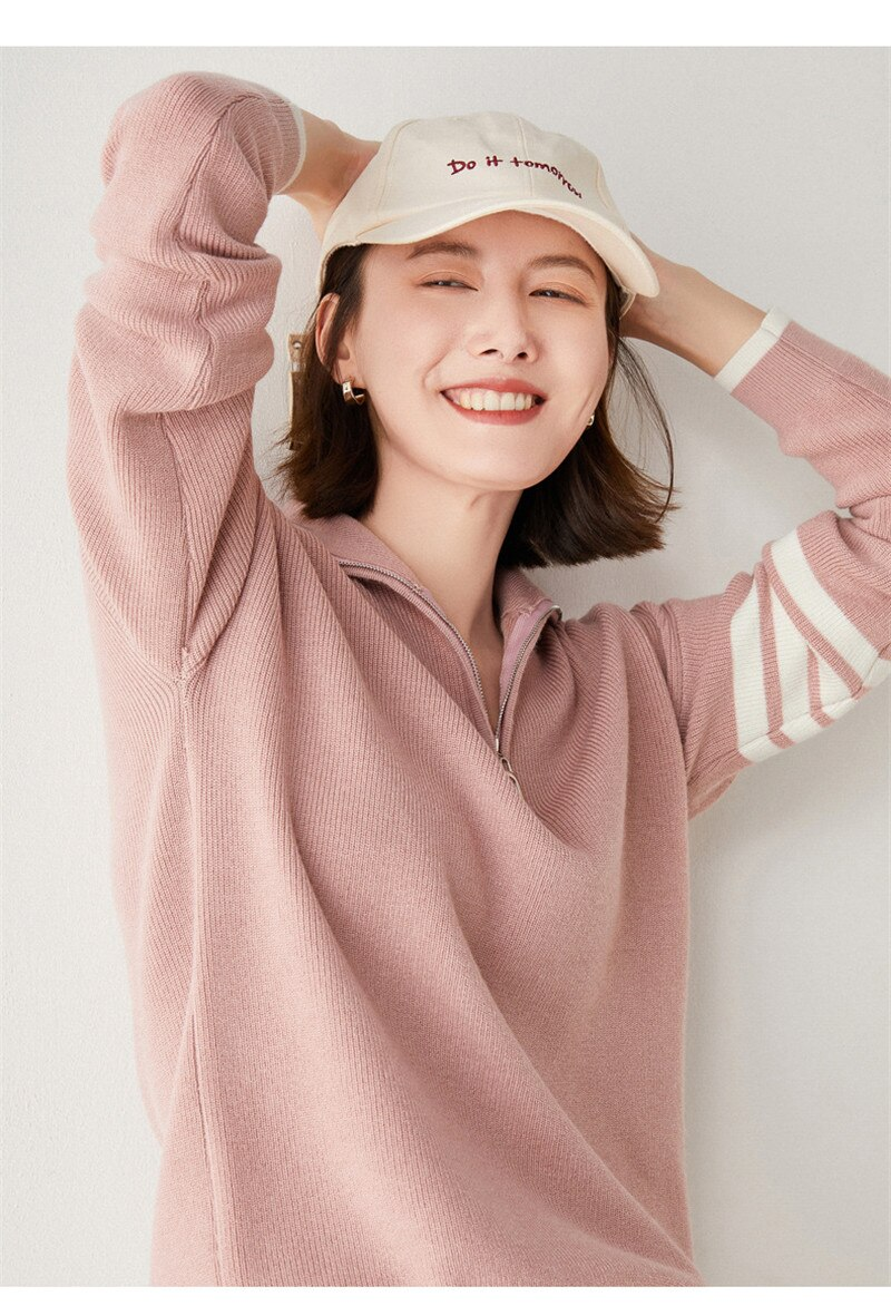 Autumn Winter 2021 New Korean Wool zipper Turn-down Collar Sweater Women Long Sleeve Loose Pullovers Soft Warm Jumper enlarge