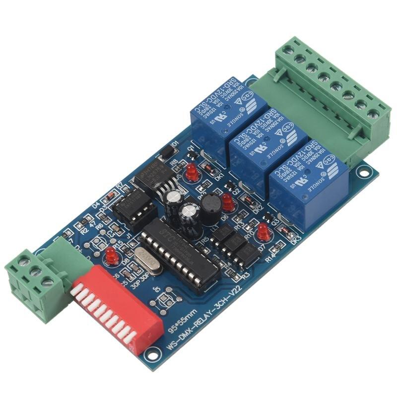 Kit de interruptor de relé controlado 5A DMX512 de 3 canales, convertidor DIY, relé regulador DMX