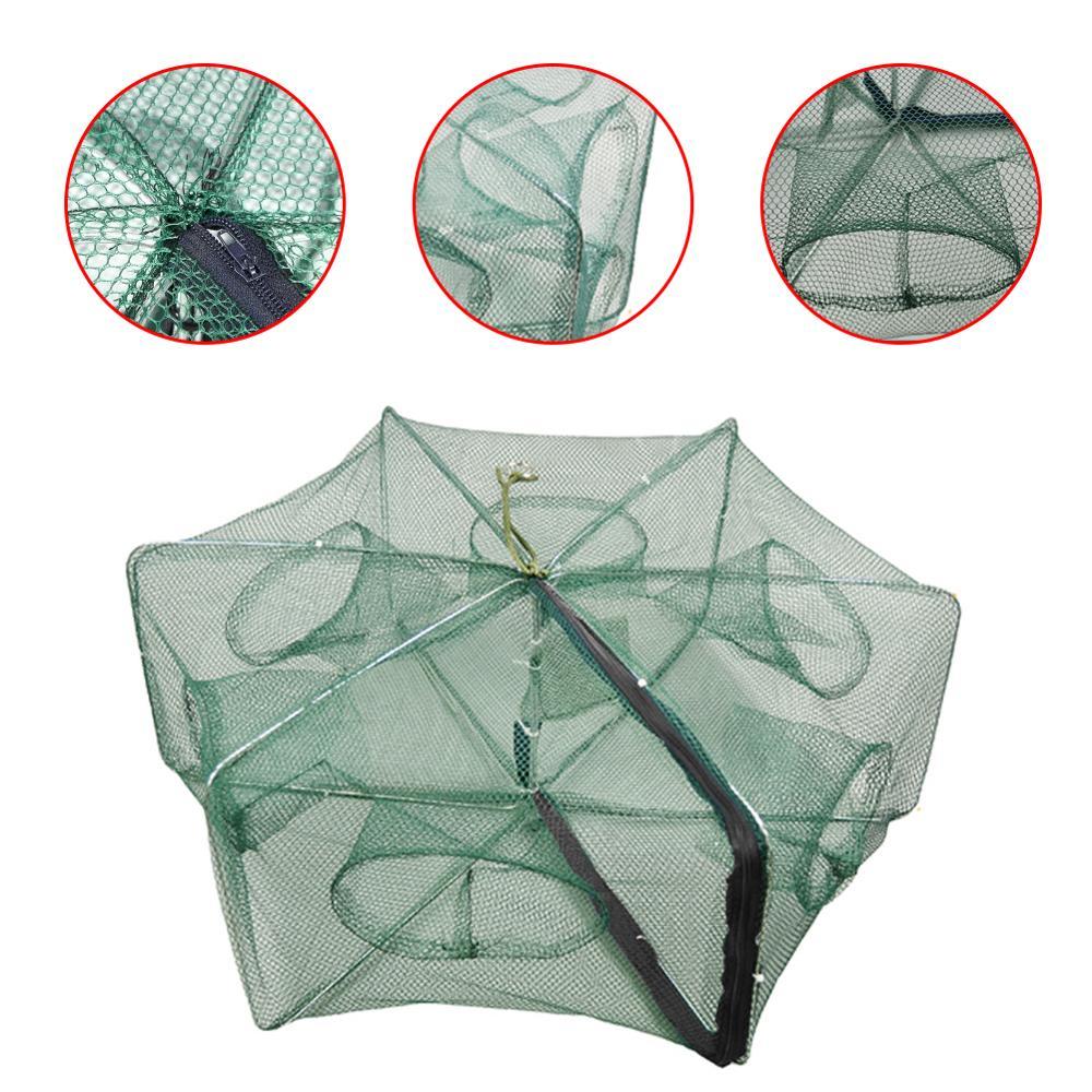 Hexagonal Folding Fishing Net 6/12 Hole Fishing Trap Holes Cast Folding Strengthened Nylon Hand Throw Fishing Network Cages Mesh