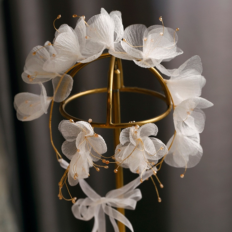 Beautiful Silk Yarn Flower headband dreamy Earrings Exterior Style Wedding hair accessories for bride
