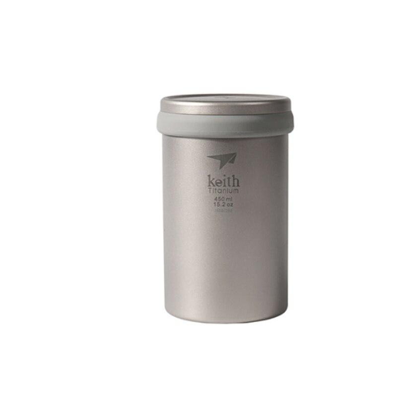 Keith 450ml dupla parede caneca de titânio com tampa acampamento chá cafeteira coador titânio para xícara bule ti3521