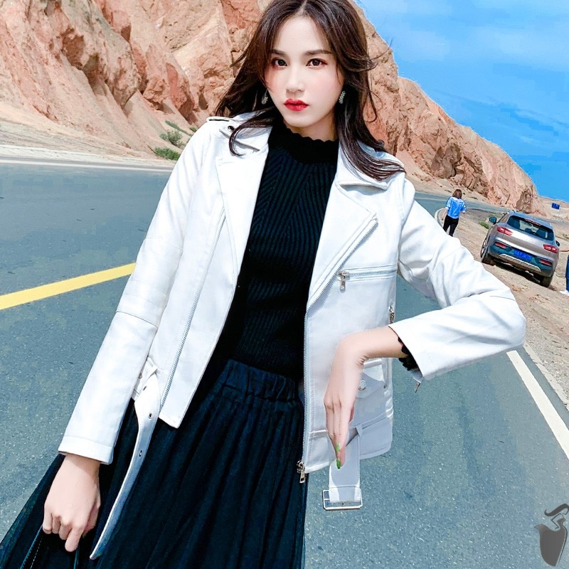 Женская куртка из искусственной кожи с поясом, короткая мотоциклетная куртка большого размера 3XL, верхняя одежда из искусственной кожи для ...