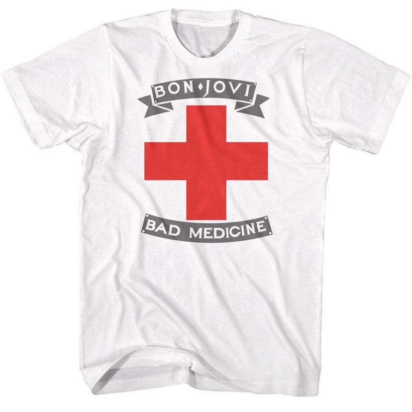 Bon Jovi mala medicina portada del álbum de los hombres T camisa Metal de Rock banda de música Tour Merch novedad camiseta personalizada camiseta