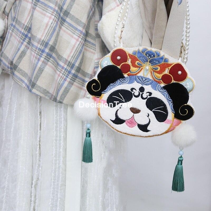 حقيبة يد ريترو على الطراز الصيني للبنات ، 2021 ، حقائب هاتف خلوي أصلية من hanfu ، حقيبة كتف على شكل باندا