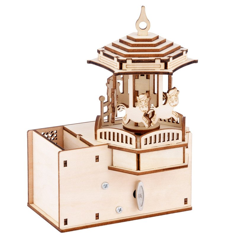 DIY 3D carrusel caja de música mecánica de soporte de madera para bolígrafo rompecabezas rotativo creativo juego de ensamblaje juguete para regalo para niños adultos