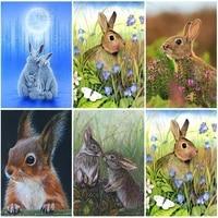 5d diy diamond painting cute rabbit art picture home decoration full squareround rhinestone animal set mosaic art handmade gift