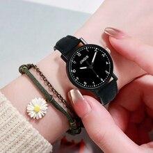 2PCS /Set Fashion Women Leather Watches Casual Bracelet Dress Quartz Clock Simples Number Dial Sport