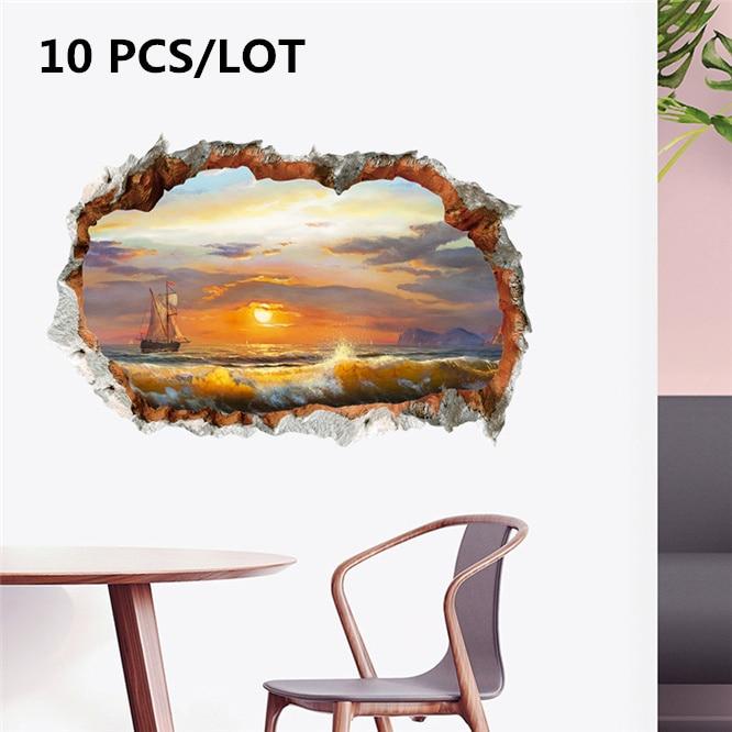 10 unids/lote 3D etiqueta de la pared rota pintura al óleo barco de vela surf área escénica vida fondo de sala Pared de TV decoración mural