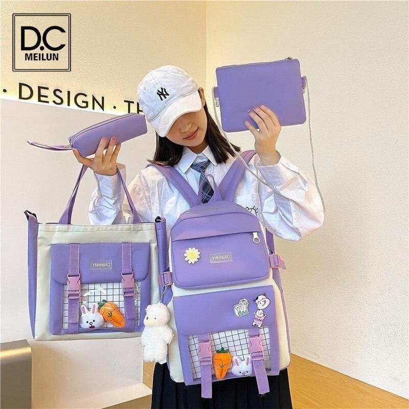 Набор из 4 шт. милых женских рюкзаков DC.meilun, милые школьные ранцы для девочек-подростков, школьные рюкзаки большой вместимости