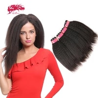 ali queen one donor brazilian unprocessed virgin human hair extension kinky straight bundle deal natural color inch double drawn