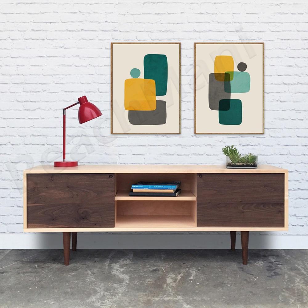 madeira buttoned mid century modern dark teal fabric club chair Teal Mustard Gray Wall Art, Original Organic Shapes Modern Art, Mid-Century Modern Living Room Decor