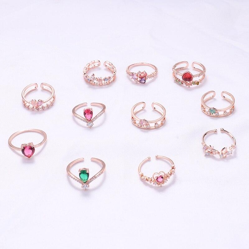 MENGJIQIAO, nuevos anillos coreanos de circonita cúbica con flores de corazón, anillos ajustables para mujer, gota de agua de cristal, joyería de fiesta