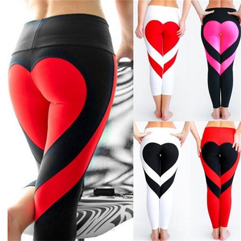 Yoga Pants Women Heart Shape Leggings Women New Sport Leggings Tight Trouser Pencil Legging Sport Leggings