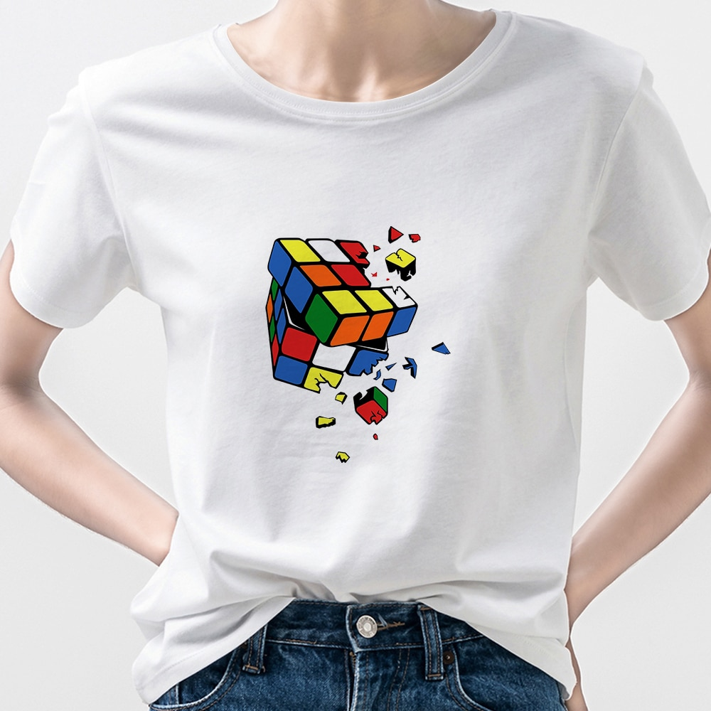 Rubik's Cube Aesthetic Clothes T-Shirts Women t Shirts Summer Cartoon Girls Can Do Anything i Am Cool Tshirt Short Sleeve Edgy  - buy with discount