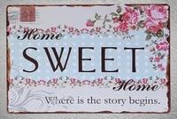 1 piece Home Sweet Home Bienvenue Plaque Detain Signe mur Chambre caverne dhomme Decoration Art Livraison Directe Affiche en metal