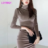 2021 autumn and winter new korean temperament high neck velvet slim fit waist slimming folds sexy bag hip dress women