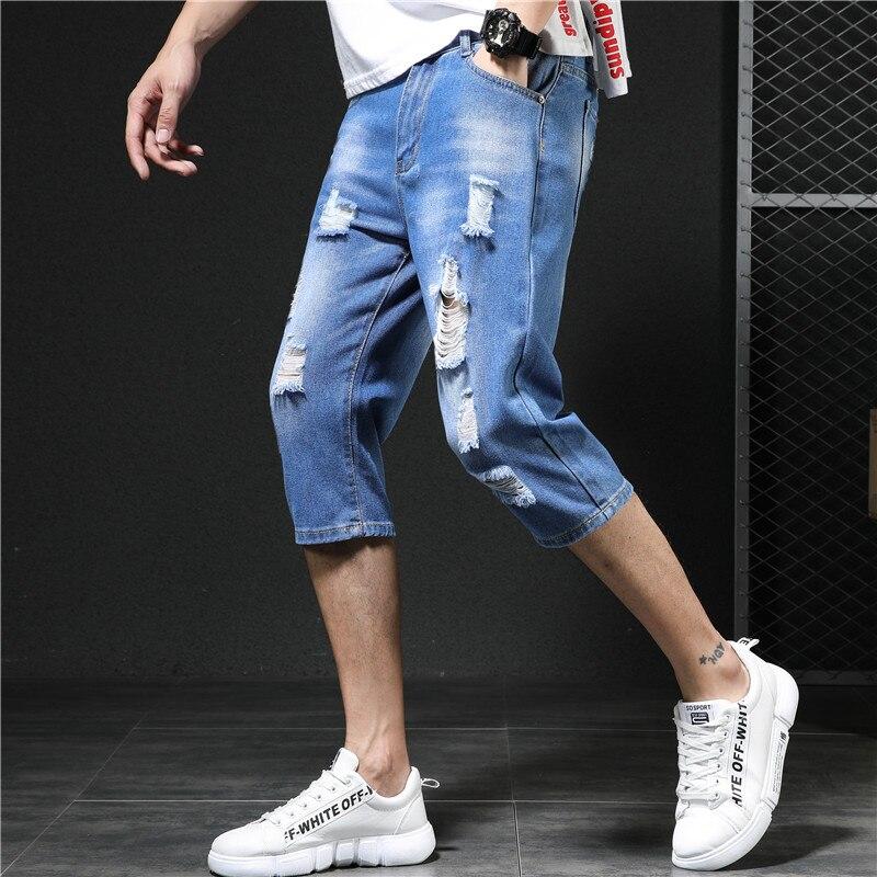 Мужские рваные джинсовые шорты до середины икры, хлопковые дышащие джинсовые шорты, мужские рваные зауженные короткие потертые джинсы