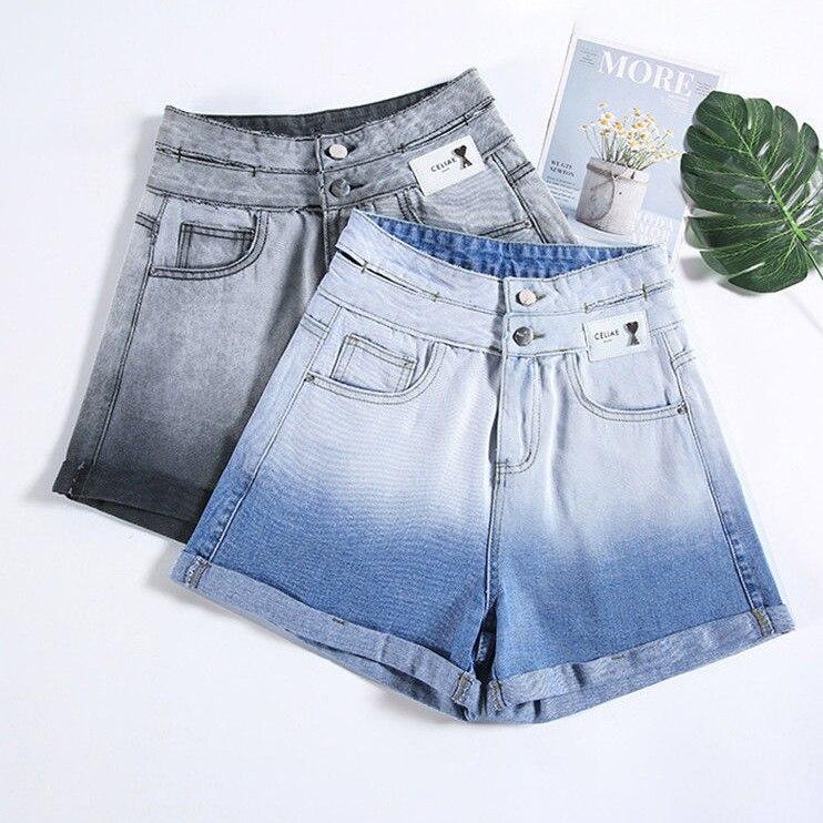 Женские джинсовые шорты с градиентом, тонкие свободные широкие брюки-карандаш с заниженной талией, светлые штаны трапециевидного силуэта, ...