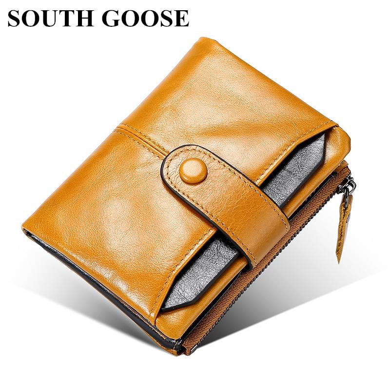 South goose couro genuíno rfid men wallet curto multifuncional bolsa masculina titular do cartão de visita com bolso de moeda pequena bolsa de dinheiro