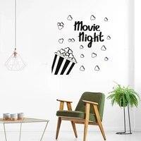 Autocollant mural en vinyle pour salon et cinema  dessin anime pop-corn  film de jeu de musique  autocollant mural amovible etanche ov307