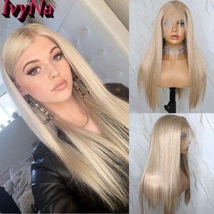 IvyNa Honey Blonde Synthetic T Part Futura Wigs for Black Women Heat Resistant Long Straight Synthetic Wig 13x2 Lace Front Wig