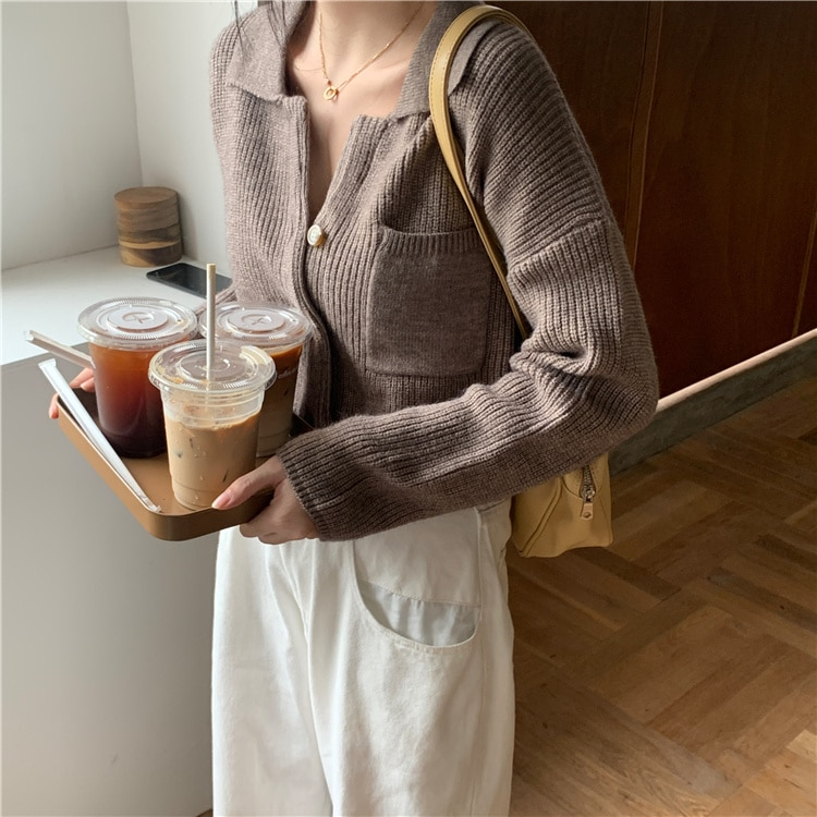 Hong Kong Style Coffee Color BM Soft Glutinous Knitted Sweater Outer Cardigan