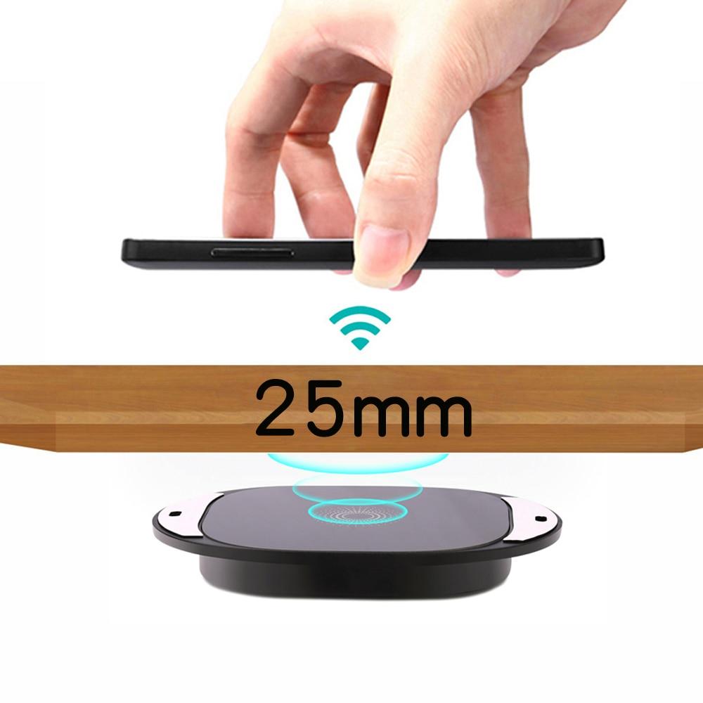 20 مللي متر لمسافات طويلة سريع شاحن لاسلكي غير مرئية الرخام سطح المكتب الأثاث الجدول المخفية الامتزاز آيفون iPhone 8 X 8Plus XR XS 11Pro 12 Max Samsung S20 S10 S9 S8 ...