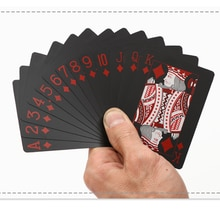 Jeu de cartes à jouer noir étanche en plastique noir rouge couleur carte de Poker classique tours de magie outil jeux de Poker cadeau Poker