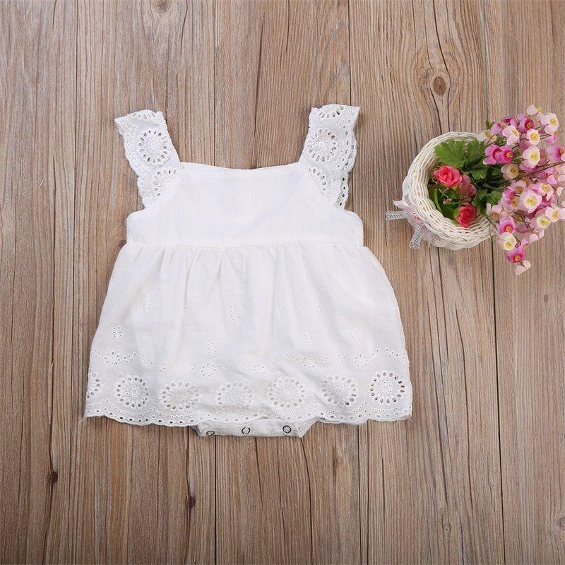 Sólido sin mangas Ruffled Crochet Lace Romper vestido para niñas