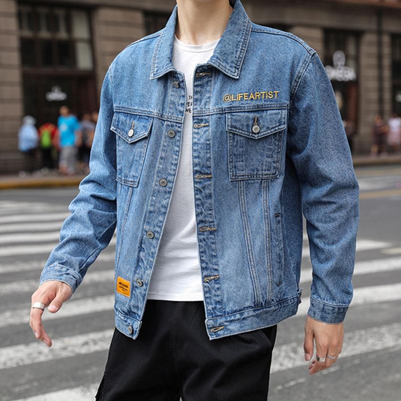 Модные джинсовые джинсы, хлопковые куртки 2021, мужские джинсовые весенние куртки, пальто в Корейском стиле, Повседневная Уличная одежда, винтажная Свободная верхняя одежда