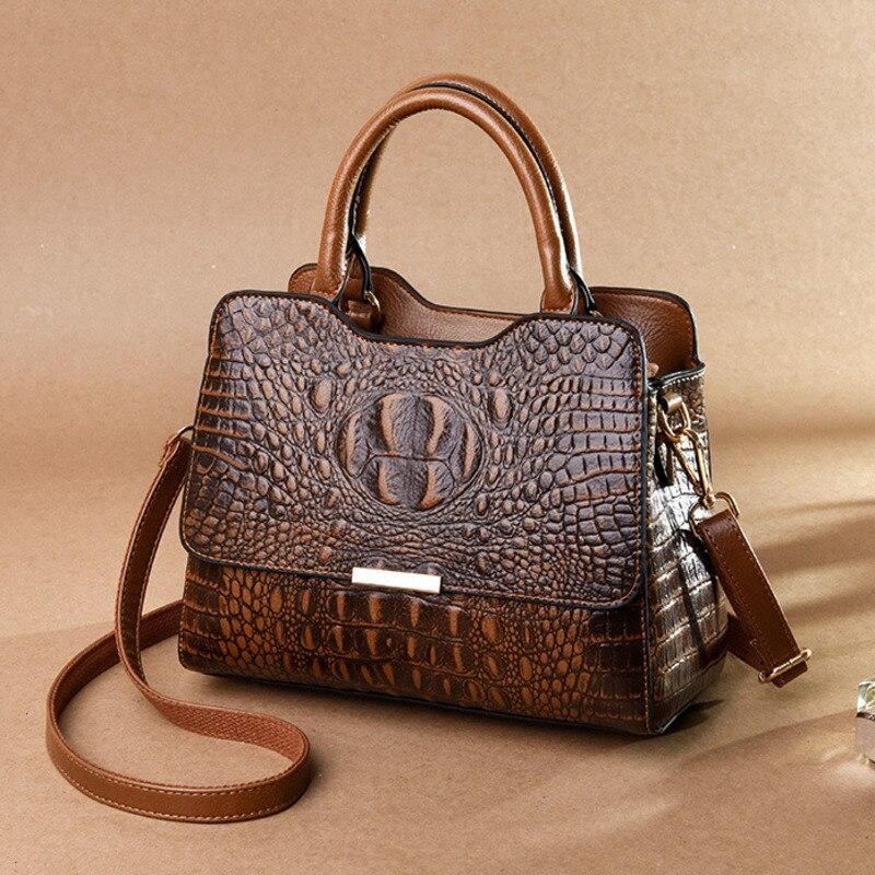 حقيبة يد نسائية من جلد التمساح ، حقيبة يد فاخرة ، حقيبة كتف ، عتيقة ، عصرية