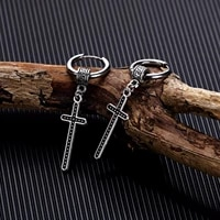 personalized black jesus classic cross earrings man jewelry 2021 trend stainless steel color europe and america eardrop