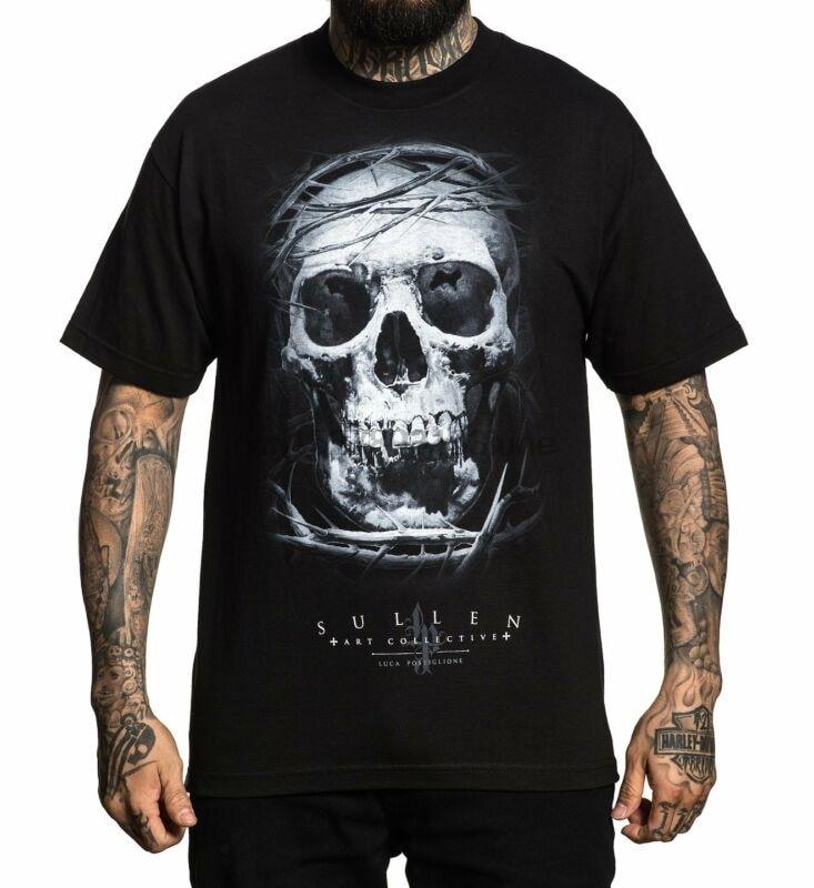 Camiseta del artista del tatuaje negro del cráneo de Lux del arte del grull S-3xl Nuevo Reino Unido