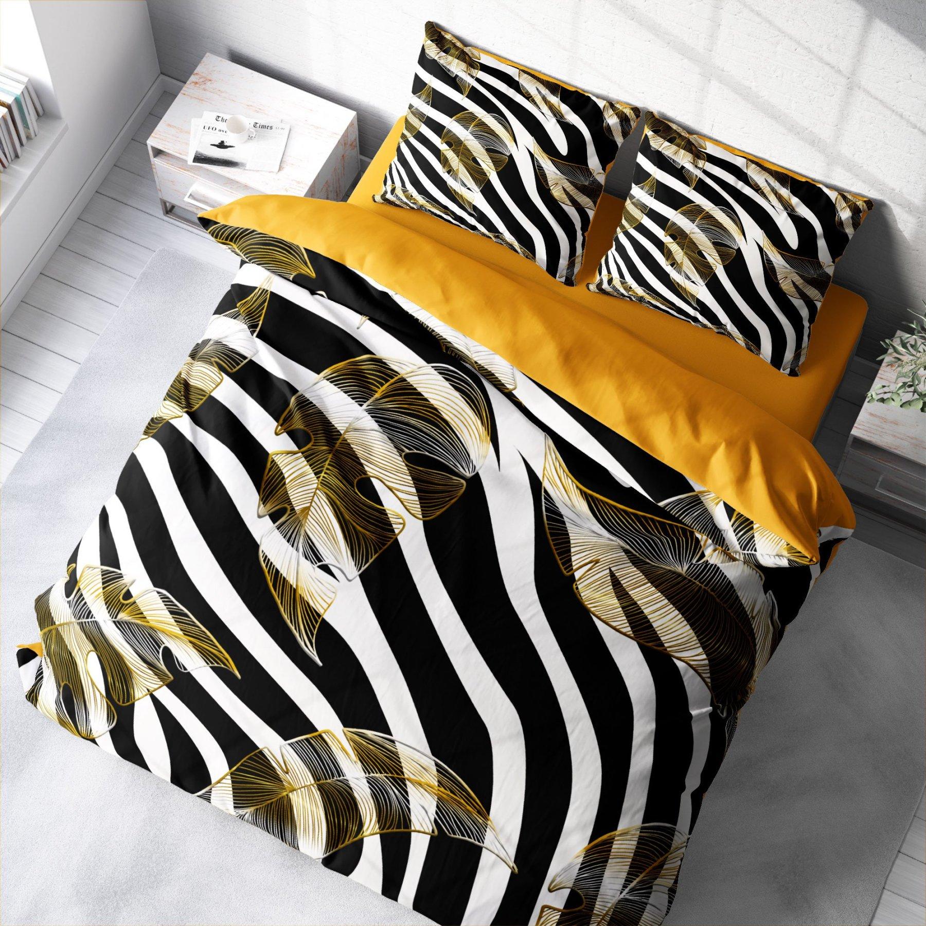 Monohome Zebra Feather 3D Cotton Satin Double Duvet Cover Suit