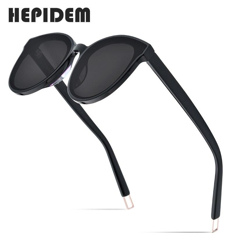 HEPIDEM جديد خلات جولة النظارات الشمسية الرجال لطيف العلامة التجارية مصمم الشمس نظارات للنساء المتطابقة UV400 gm أسود بيتر