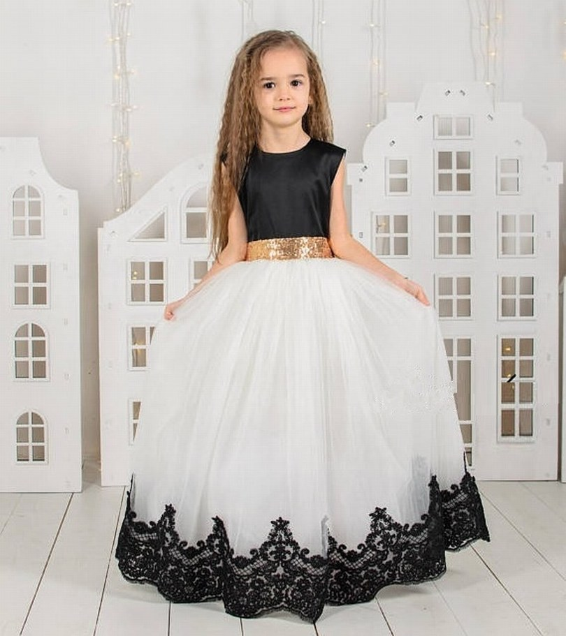 White And Black Girls Princess Ball Gowns Puffy Girls Birthday Party Dresses Black and White Photography Dresses Custom enlarge