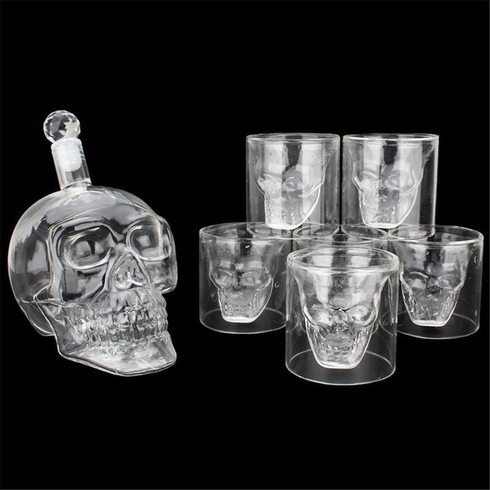 AliExpress - Glass Skull Head Cup Vodka-Shot Whiskey Wine Tea Drinking Bottle Decanter